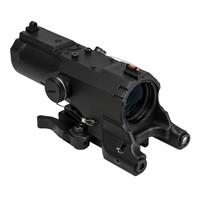 Image of NcSTAR Vism 4x34 ECO MOD2 Riflescope, Matte Black with Blue Illuminated Urban Tactical Reticle, Integrated Green Laser, Navigation LED Light & Picatinny Mount