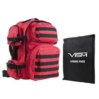 """Image of NcSTAR Vism Tactical Backpack with 10x12"""" Soft Ballistic Panel, Red with Black Trim"""
