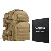 """Image of NcSTAR Vism Tactical Backpack with 10x12"""" Soft Ballistic Panel, Tan"""