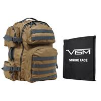 """Image of NcSTAR Vism Tactical Backpack with 10x12"""" Soft Ballistic Panel, Tan with Gray Trim"""