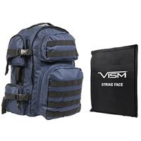 """Image of NcSTAR Vism Tactical Backpack with 10x12"""" Soft Ballistic Panel, Blue with Black Trim"""