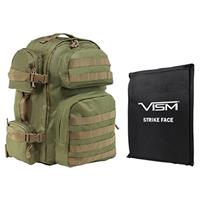 """Image of NcSTAR Vism Tactical Backpack with 10x12"""" Soft Ballistic Panel, Green with Tan Trim"""