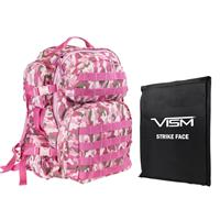 """Image of NcSTAR Vism Tactical Backpack with 10x12"""" Soft Ballistic Panel, Pink Camo"""