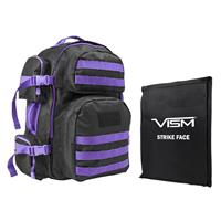 """Image of NcSTAR Vism Tactical Backpack with 10x12"""" Soft Ballistic Panel, Black with Purple Trim"""
