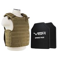 """Image of NcSTAR Vism Quick Release Ballistic Plate Carrier Vest with 11x14"""" PE Hard Plates, Tan"""