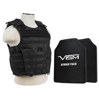 """Image of NcSTAR Vism Expert Ballistic Plate Carrier Vest with Two 11x14"""" PE Hard Plates, Fits Medium to 2X-Large, Black"""