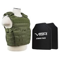 """Image of NcSTAR Vism Expert Ballistic Plate Carrier Vest with Two 11x14"""" PE Hard Plates, Fits Medium to 2X-Large, Green"""