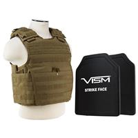 """Image of NcSTAR Vism Expert Ballistic Plate Carrier Vest with Two 11x14"""" PE Hard Plates, Fits Medium to 2X-Large, Tan"""