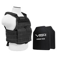 """Image of NcSTAR Vism Ballistic Plate Carrier Vest with Two 10x12"""" PE Hard Plates, Fits Medium to 2X-Large, Black"""