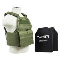 """Image of NcSTAR Vism Ballistic Plate Carrier Vest with Two 10x12"""" PE Hard Plates, Fits Medium to 2X-Large, Green"""