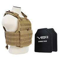 """Image of NcSTAR Vism Ballistic Plate Carrier Vest with Two 10x12"""" PE Hard Plates, Fits Medium to 2X-Large, Tan"""