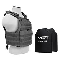 """Image of NcSTAR Vism Ballistic Plate Carrier Vest with Two 10x12"""" PE Hard Plates, Fits Medium to 2X-Large, Urban Gray"""