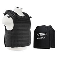 """Image of NcSTAR Vism Quick Release Ballistic Plate Carrier Vest with 10x12"""" PE Hard Plates, Fits Medium to 2X-Large, Black"""