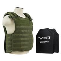 """Image of NcSTAR Vism Quick Release Ballistic Plate Carrier Vest with 10x12"""" PE Hard Plates, Fits Medium to 2X-Large, Green"""
