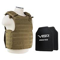 """Image of NcSTAR Vism Quick Release Ballistic Plate Carrier Vest with 10x12"""" PE Hard Plates, Fits Medium to 2X-Large, Tan"""