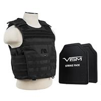 """Image of NcSTAR Vism Expert Ballistic Plate Carrier Vest with Two 10x12"""" PE Hard Plates, Fits Medium to 2X-Large, Black"""