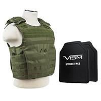 """Image of NcSTAR Vism Expert Ballistic Plate Carrier Vest with Two 10x12"""" PE Hard Plates, Fits Medium to 2X-Large, Green"""