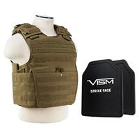 """Image of NcSTAR Vism Expert Ballistic Plate Carrier Vest with Two 10x12"""" PE Hard Plates, Fits Medium to 2X-Large, Tan"""