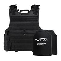 """Image of NcSTAR Vism Expert Ballistic Plate Carrier Vest with Two 10x12"""" PE Hard Plates, Fits 2X-Large+, Black"""