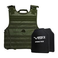 """Image of NcSTAR Vism Expert Ballistic Plate Carrier Vest with Two 10x12"""" PE Hard Plates, Fits 2X-Large+, Green"""