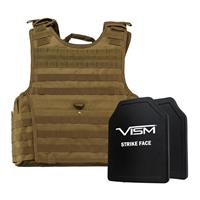 """Image of NcSTAR Vism Expert Ballistic Plate Carrier Vest with Two 10x12"""" PE Hard Plates, Fits 2X-Large+, Tan"""