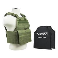 """Image of NcSTAR Vism Ballistic Plate Carrier Vest with Two 10x12"""" Soft Panels, Fits Medium to 2X-Large, Green"""