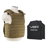 """Image of NcSTAR Vism Quick Release Ballistic Plate Carrier Vest with Two 10x12"""" Soft Panels, Fits Medium to 2X-Large, Tan"""