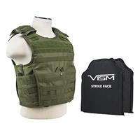 """Image of NcSTAR Vism Expert Ballistic Plate Carrier Vest with Two 10x12"""" Soft Panels, Fits Medium to 2X-Large, Green"""