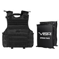 """Image of NcSTAR Vism Expert Ballistic Plate Carrier Vest with Two 8x10"""" Soft Panels, Fits X-Small to Small, Black"""