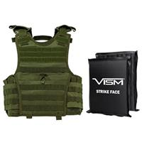 """Image of NcSTAR Vism Expert Ballistic Plate Carrier Vest with Two 8x10"""" Soft Panels, Fits X-Small to Small, Green"""
