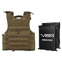 """Image of NcSTAR Vism Expert Ballistic Plate Carrier Vest with Two 8x10"""" Soft Panels, Fits X-Small to Small, Tan"""