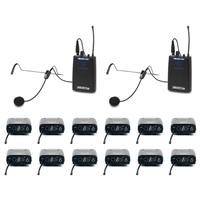 VocoPro One Way Communication System for TV and Film Production, 12 Receivers, 900MHz