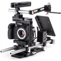 """Image of Wooden Camera Wooden Camera Pro Accessory Kit for Panasonic GH3 and GH4 Cameras, Includes Quick Cage, DSLR 15mm Base, 2x 15"""" 15mm Rod, NATO Handle Kit, A-Box, UVF Mount, Dovetail Clamp, 8"""" Safety Dovetail, Rod Clamp, Battery Slide"""