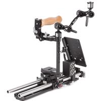 """Image of Wooden Camera Unified Accessory Kit for Canon 6DmkII/7DmkII Camera (Pro), Includes Unified DSLR Cage (Medium), Unified DSLR 15mm Baseplate, 2x 15mm Rod (15""""), Ultra Arm Monitor Mount (1/4-20 to 1/4-20, 3""""), 12"""" Safety Dovetail, A-Box (DSLR)"""