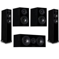 """Image of Wharfedale Diamond 12.4 Dual 6.5"""" 2.5-Way Tower Floor Standing Speaker, Pair Black - With Diamond 12.0 4"""" 2-Way Bookshelf Speaker, Pair Black, 12.C Dual 5"""" 2-Way Center Channel Speaker, Pair Black"""
