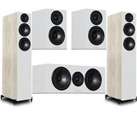 "Image of Wharfedale Diamond 12.4 Dual 6.5"" 2.5-Way Tower Floor Standing Speaker, Pair, Light Oak - Bundle With 12.0 4"" 2-Way Bookshelf Speaker, Pair White, 12.C Dual 5"" 2-Way Center Channel Speaker Pair White"