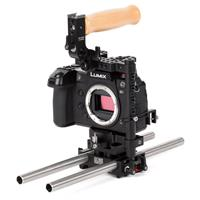 """Image of Wooden Camera Panasonic S1 Unified Accessory Kit (Base), Includes DSLR Cage (Medium), DSLR 15mm Baseplate, 2x 15mm Rod (12"""")"""