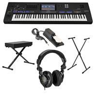 Image of Yamaha Genos 76-Key Flagship Arranger Workstation Keyboard - Bundle With Ultimate Medium X-Style Keyboard Bench, H&A Studio Monitor Headphones, Ultimate X-Style Stand, On-Stage Keyboard Sustain Pedal