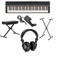 Image of Yamaha P-121 73-Key Digital Piano (Black), Bundle with Bench, Stand, Sustain Pedal and H&A Studio Headphones