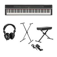Image of Yamaha P-125 88-Note Digital Piano with Weighted GHS Action, Black + Keyboard Stand + Keyboard Bench + Keyboard Pedal + Studio Monitor Headphones