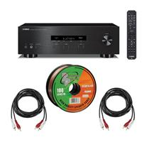 Image of Yamaha R-S202 Stereo Receiver with Bluetooth Bundle with Speaker Zip Wire 100-foot Spool, 2 Pack H&A RCA Male to 2 RCA Male Stereo Audio Cable 10-foot