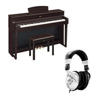 Image of Yamaha Arius YDP-184 88-Key Traditional Console Digital Piano with Bench & PA-300C AC Power Adapter, Dark Rosewood - With H&A Closed-Back Studio Monitor Headphones