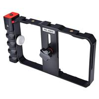 Image of YELANGU PC02 Smartphone Video Camera Cage with 3x Cold Shoe, Black and Red