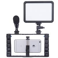 Image of YELANGU Smartphone Video Rig Kit, Includes Phone Cage with LED Light, Microphone Mount and Hot Shoe Double Handle