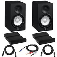 """Image of Yamaha 2x HS5 5"""" 70W Powered Two-Way Studio Monitor, 5-Inch Woofer and 1-Inch Tweeter (Black) Bundle with 2x Isolation Pads, 2x 15-Foot XLR M to XLR F Microphone Cable, 10-Foot Y Splitter Cable"""