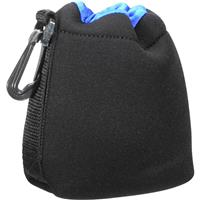 """Image of Zing Drawstring Lens Pouch Small - Black with Blue Top Hem (4.9"""" long/3.75""""diameter)"""
