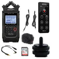 Image of Zoom H4n Pro 4-Input/4-Track Portable Handy Recorder with Onboard X/Y Mic Capsule, Al l Black - Bundle With IndiPRO Male Hot Shoe, Rycote Mini Windjammer, 16GB Card 3 .5 MON Cable, Movo Remote Control