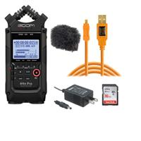 Image of Zoom H4n Pro 4-Input/4-Track Portable Handy Recorder with Onboard X/Y Mic Capsule, Bl ack - Bundle With Zoom Replacement AD14 120V AC Adaptr, Tether 15' USB 2.0 Cable , Rycote Windjammer, 16GB Card