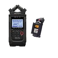 Image of Zoom H4n Pro 4-Input/4-Track Portable Handy Recorder with Onboard X/Y Mic Capsule, All Black - With Porta Brace AR-ZH4 Audio Recorder Case for Zoom H4 Recorder