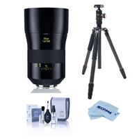 Compare Prices Of  Zeiss Otus 100mm f/1.4 Apo Sonnar ZE Series Manual Focusing Lens for Canon EF - Bundle With FotoPro X-Go Max Carbon Fiber Tripod with Built-In Monopod, FPH-62Q Ball Head, Cleaning Kit, Cloth